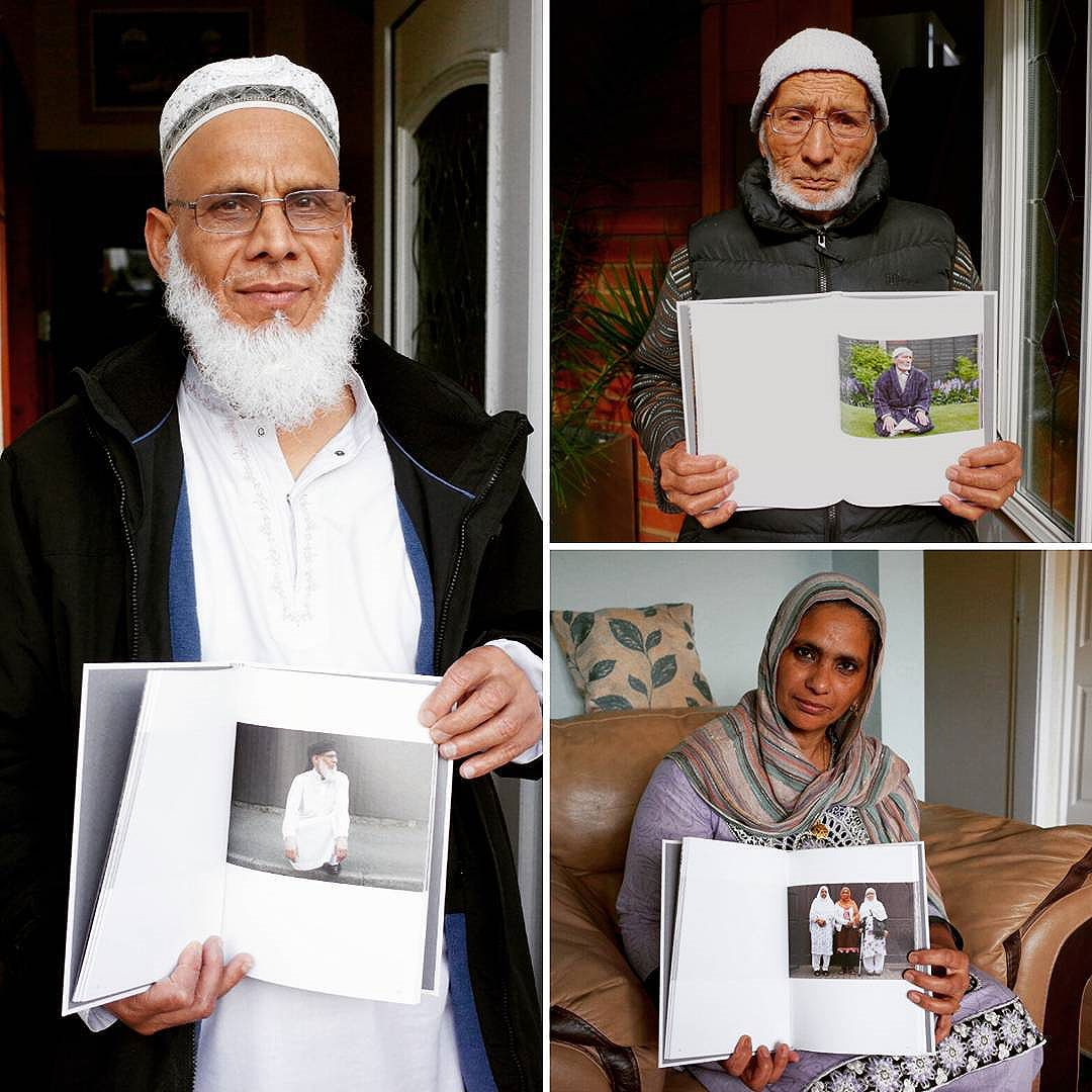 Photographs of participants receiving their copy of Mahtab Hussains' Multistory commissioned book 'The Quiet Town of Tipton'.