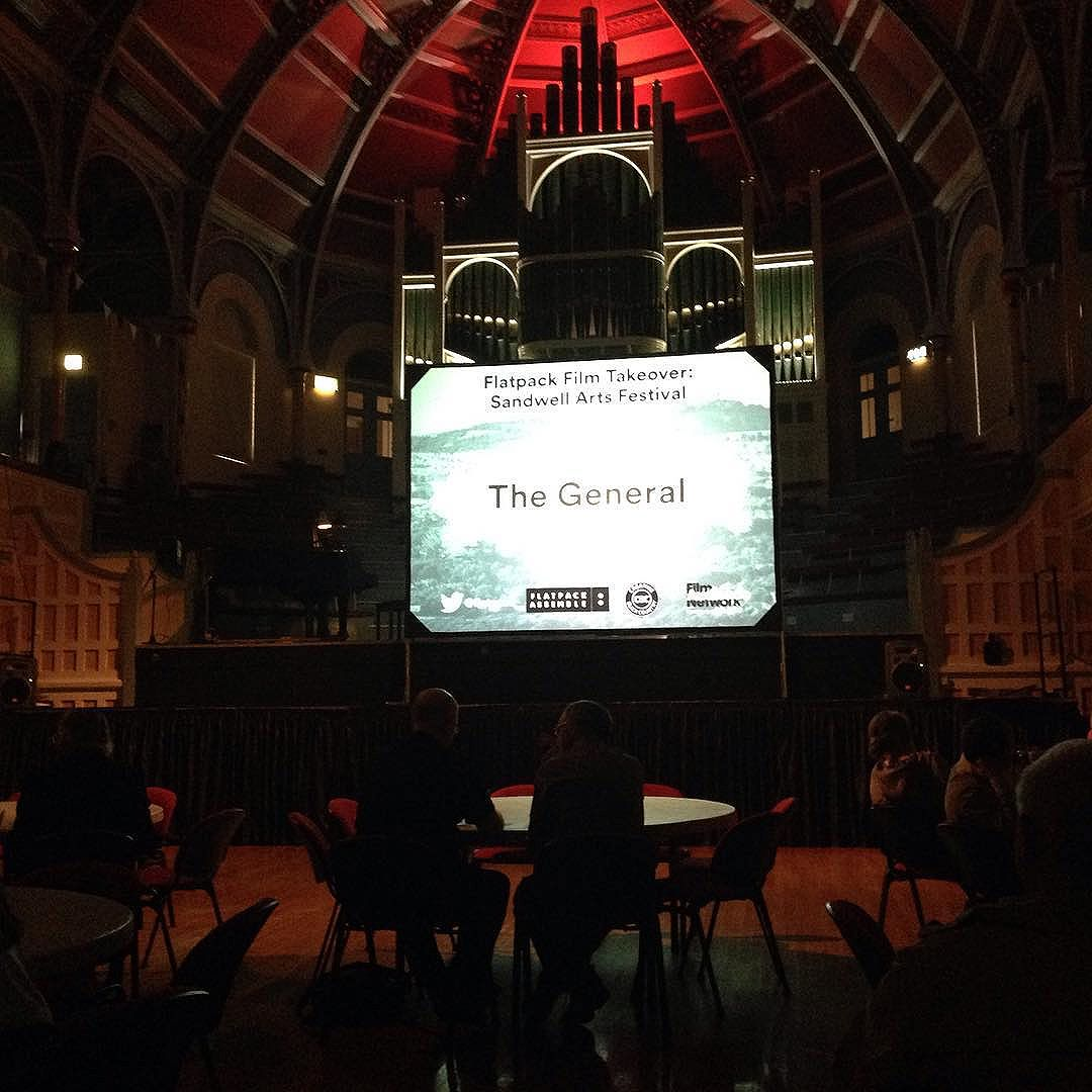 Brilliant day of film at West Bromwich Town Hall, curated by #Flatpack, finished with candlelit screening of The General.  @creativeblackcountry @flatpackfilmfestival