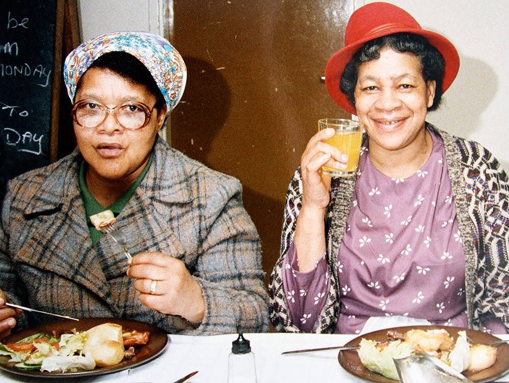 We're really excited to welcome our guests tomorrow for the launch of our new book 'Black Country Roots'. Keep an eye on social media from 1pm for live updates!  Luncheon club at the African-Caribbean Centre, West Bromwich, 1988, (from 'Bickle' exhibition). Photo: Maxine Walker / Nigel Madhoo Courtesy of www.jubileeartsarchive.com