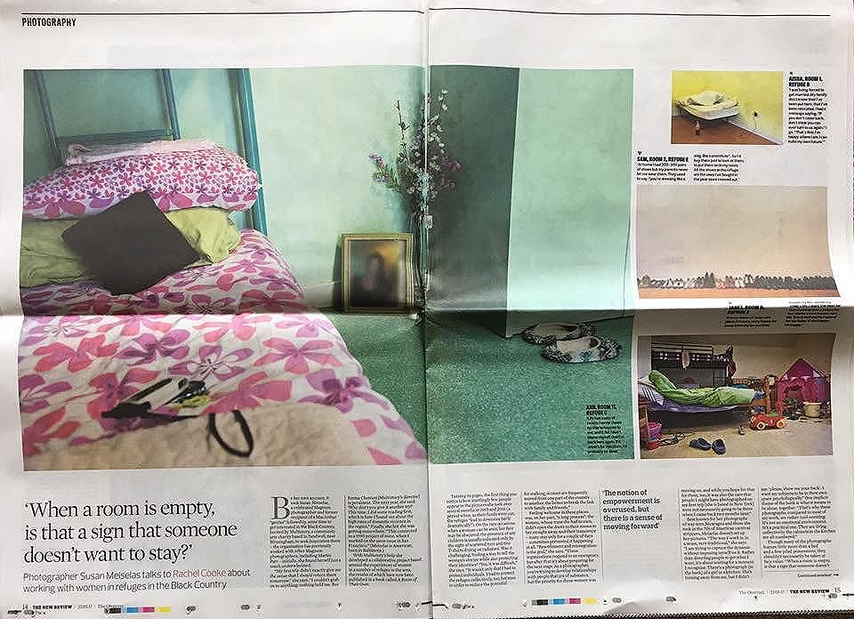 Great 3-page piece in yesterday's Observer Review on 'A Room of Their Own', our new project with Susan Meiselas and women in a Black Country refuge.