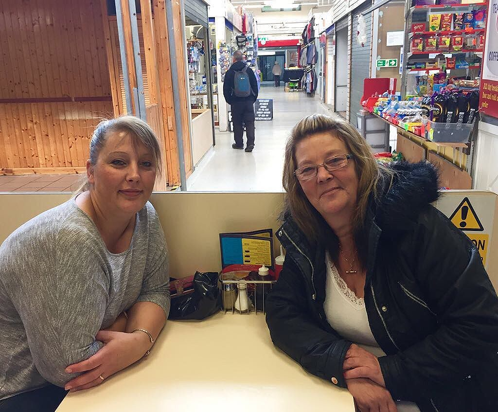Our project team have been recording stories.  June (left) and Polly (right) friends from working in Morrisons supermarket meeting for a fried breakfast at Tommy's Diner in West Bromwich indoor market.  Photo credit: @charpeake