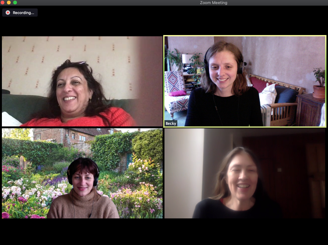 An image of one of the Zoom sessions which led to the creation of the project. The screen is split into 4 squares and 4 women's faces are shown smiling to the backdrop of rooms in their homes